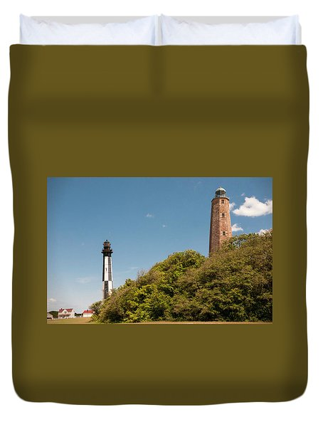 Cape Henry Lighthouses Old And New Duvet Cover