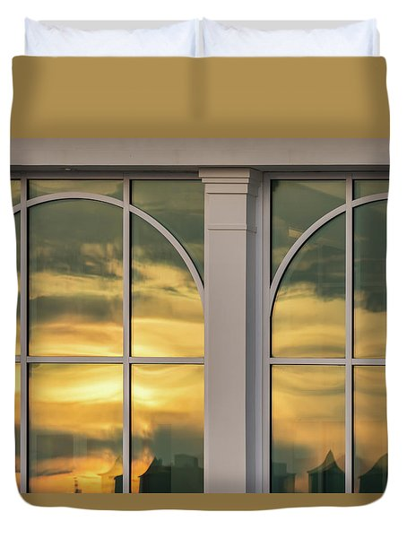 Cape May Abstract Sunset Reflection Duvet Cover