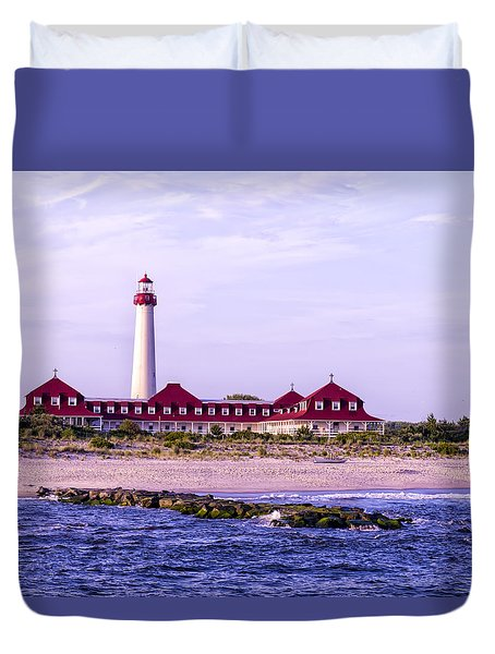 Duvet Cover featuring the photograph Cape May Light House by Linda Constant