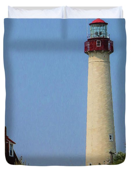 Cape May Lighthouse Vertical Duvet Cover