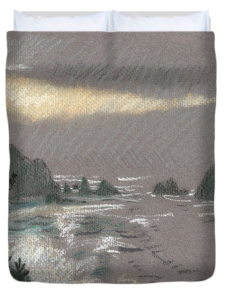 Duvet Cover featuring the painting Cape Meare by Donald Maier