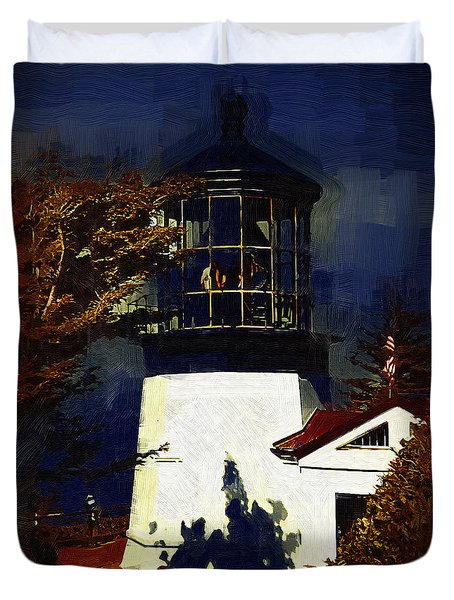 Duvet Cover featuring the digital art Cape Meares Lighthouse In Gothic by Kirt Tisdale