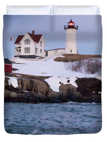 Cape Neddick Light At Dusk, York, Maine 21073 Duvet Cover