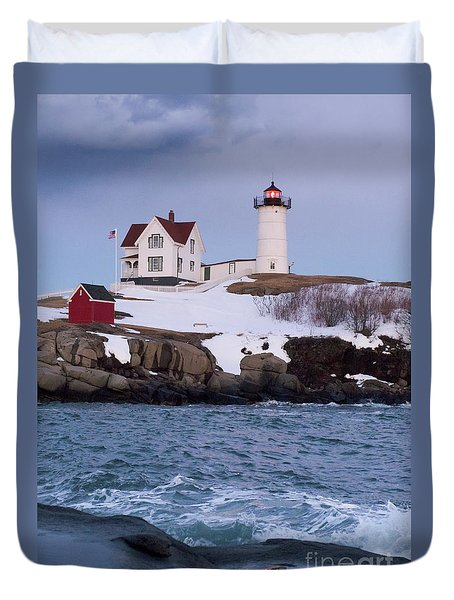 Cape Neddick Light At Dusk, York, Maine 21073 Duvet Cover