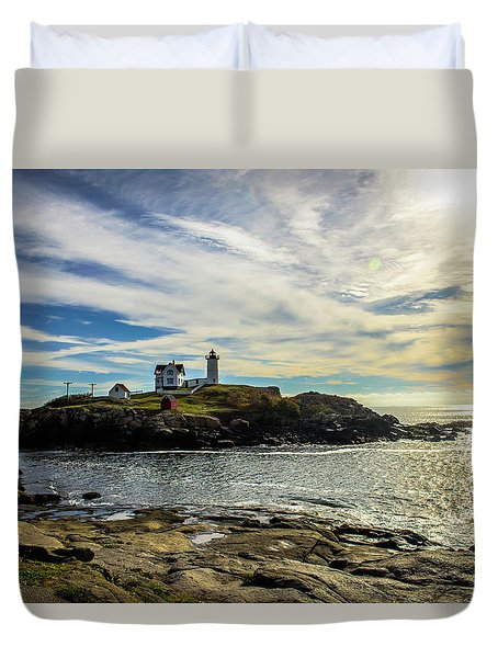 Cape Neddick Lighthouse Duvet Cover by Sherman Perry