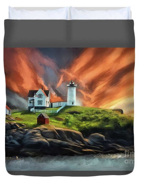 Duvet Cover featuring the digital art Cape Neddick Nubble Lighthouse by Lois Bryan