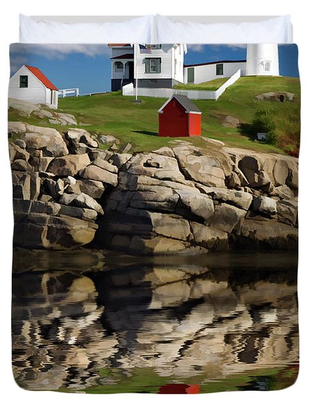 Cape Neddick Reflection - D003756a Duvet Cover by Daniel Dempster