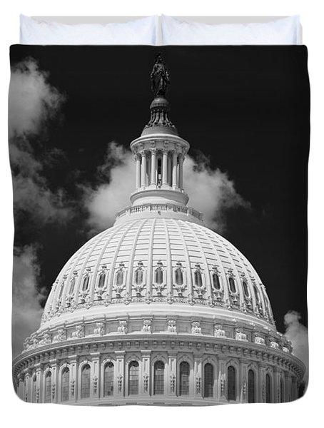 Capital Dome Washington D C  B W Duvet Cover by Steve Gadomski