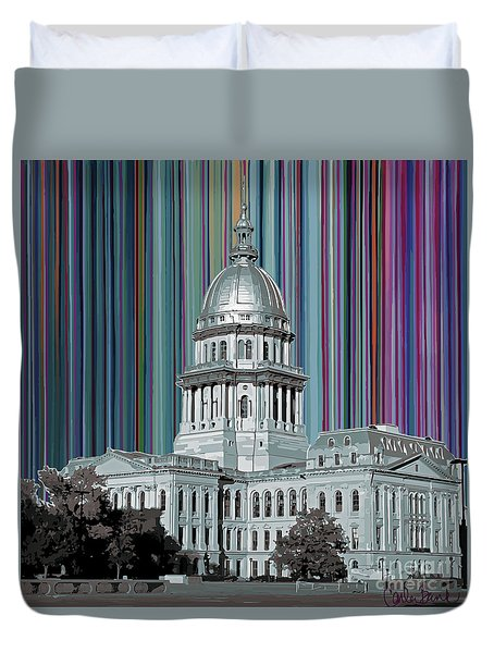 Duvet Cover featuring the mixed media Capitol Building Springfield Il by Carla Bank