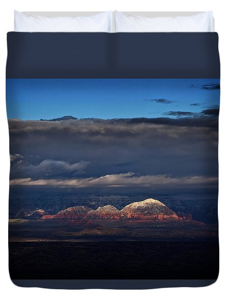 Duvet Cover featuring the photograph Capitol Butte In Sedona With Snow by Ron Chilston