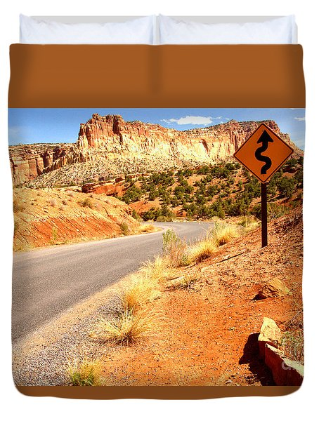 Duvet Cover featuring the photograph Capitol Curves Ahead by Adam Jewell