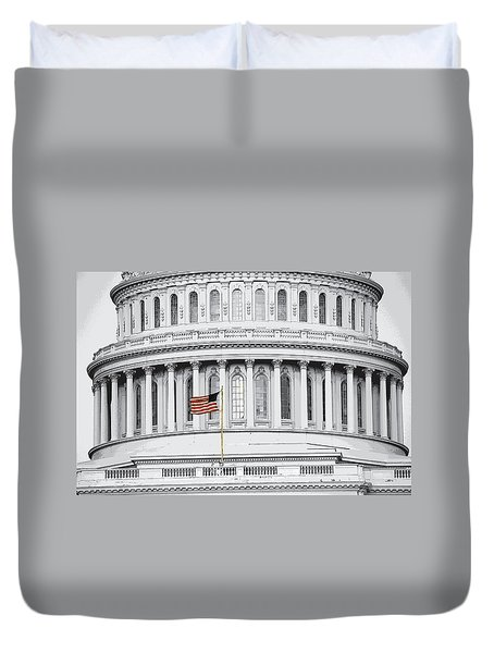 Duvet Cover featuring the photograph Capitol Flag by John Schneider