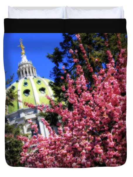 Capitol In Bloom Duvet Cover by Shelley Neff