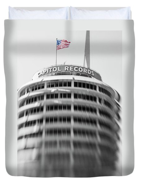 Duvet Cover featuring the photograph Capitol Records Building 18 by Micah May