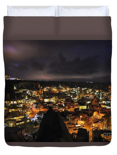 Duvet Cover featuring the photograph Cappadocia By Night by Yuri Santin