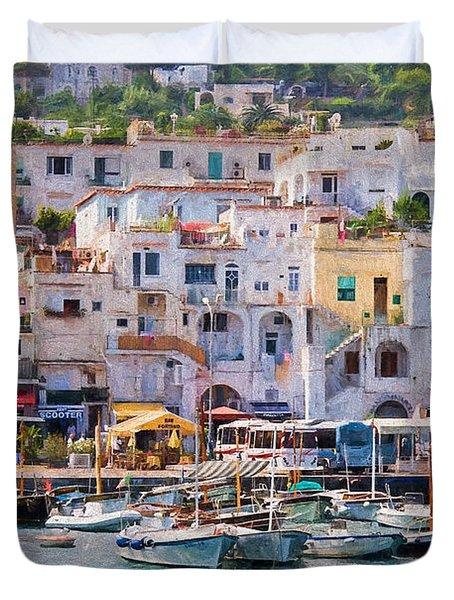 Capri Boat Harbor Duvet Cover