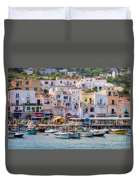 Capri Boat Harbor Duvet Cover