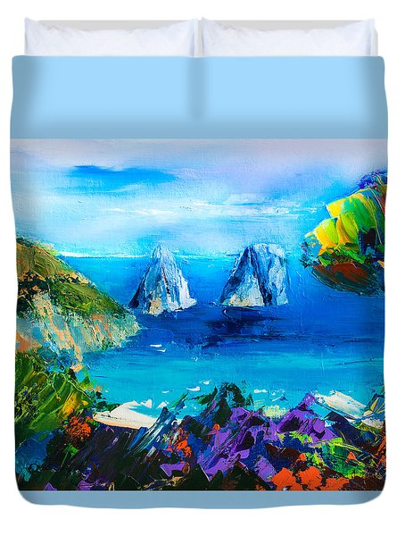Duvet Cover featuring the painting Capri Colors by Elise Palmigiani