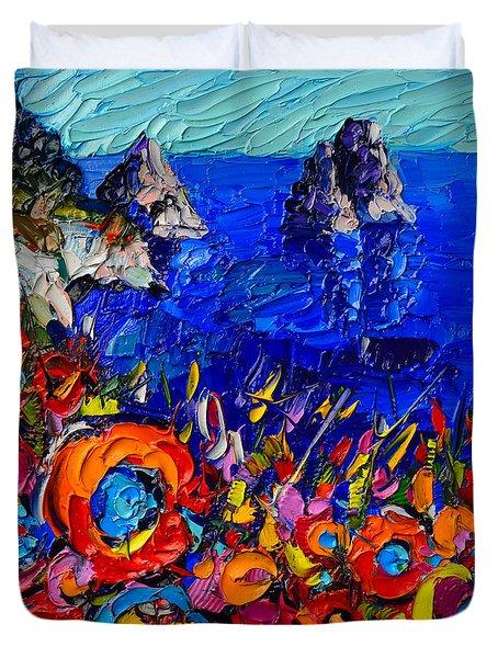 Capri Faraglioni Italy Colors Modern Impressionist Palette Knife Oil Painting By Ana Maria Edulescu  Duvet Cover