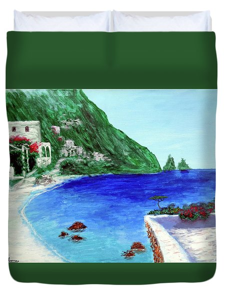 Duvet Cover featuring the painting  Capri by Larry Cirigliano