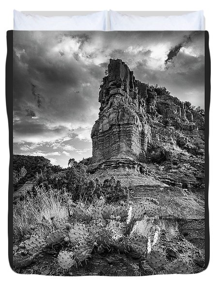 Duvet Cover featuring the photograph Caprock And Cactus by Stephen Stookey