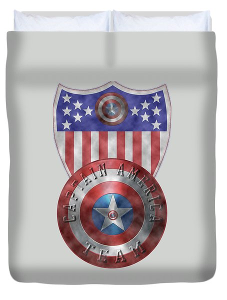Captain America Shields On Gold  Duvet Cover by Georgeta Blanaru