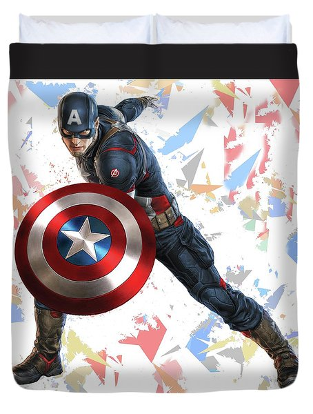Duvet Cover featuring the mixed media Captain America Splash Super Hero Series by Movie Poster Prints