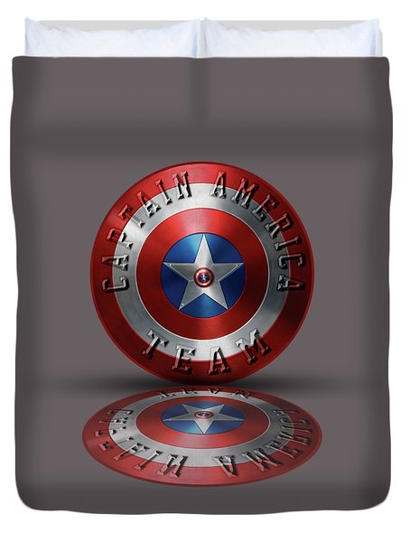 Captain America Team Typography On Captain America Shield  Duvet Cover by Georgeta Blanaru