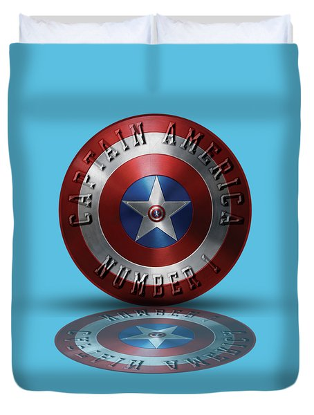 Captain America Typography On Captain America Shield  Duvet Cover by Georgeta Blanaru