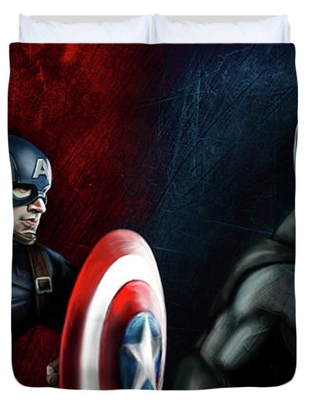 Captain America Vs Batman Duvet Cover