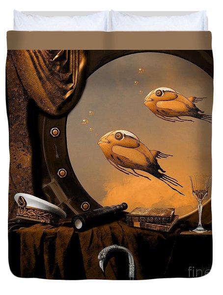 Duvet Cover featuring the digital art Captan Nemo's Room by Alexa Szlavics