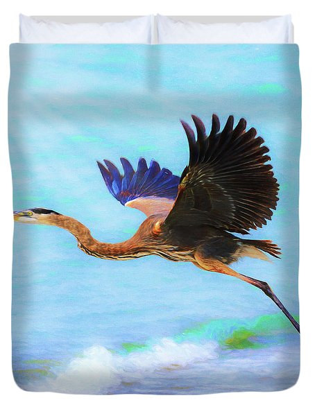 Captiva Crane In Flight Duvet Cover