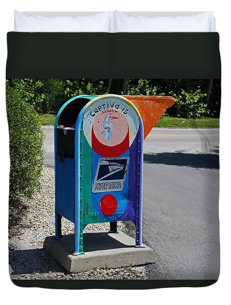 Duvet Cover featuring the photograph Captiva Island Mailbox- Horizontal by Michiale Schneider