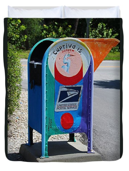 Duvet Cover featuring the photograph Captiva Island Mailbox- Vertical by Michiale Schneider