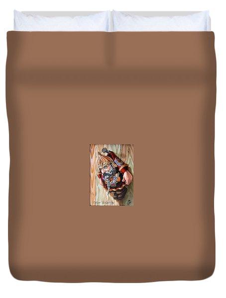 Captive Dwarf In Tiger Suit Duvet Cover