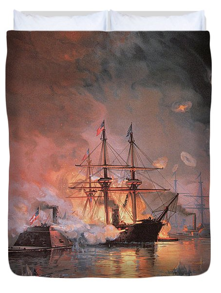 Capture Of New Orleans By Union Flag Officer David G Farragut Duvet Cover by Julian Oliver Davidson