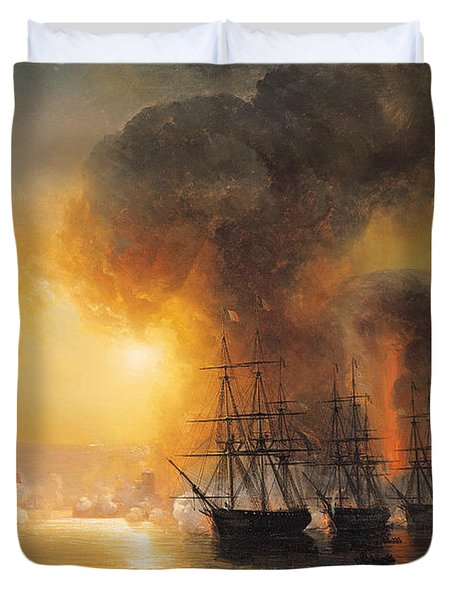 Capture Of The Fort Of Saint Jean Dulloa On 23rd November 1838 Duvet Cover by Jean Antoine Theodore Gudin