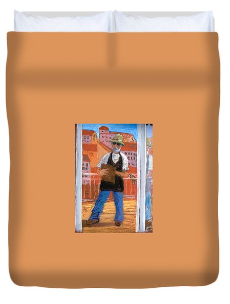 Duvet Cover featuring the painting Captured In Antibes by Gary Coleman