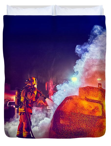 Car Arson  Duvet Cover by TC Morgan