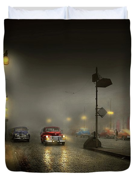 Duvet Cover featuring the photograph Car - Down A Lonely Road 1940 by Mike Savad