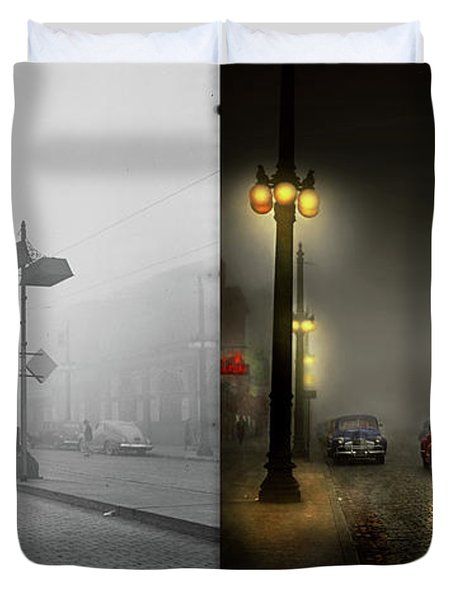 Duvet Cover featuring the photograph Car - Down A Lonely Road 1940 - Side By Side by Mike Savad