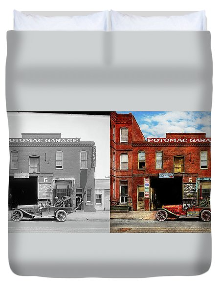Duvet Cover featuring the photograph Car - Garage - Misfit Garage 1922 - Side By Side by Mike Savad
