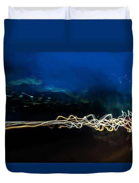 Car Light Trails At Dusk In City Duvet Cover
