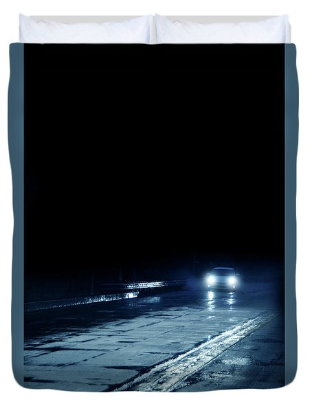 Car On A Rainy Highway At Night Duvet Cover by Jill Battaglia