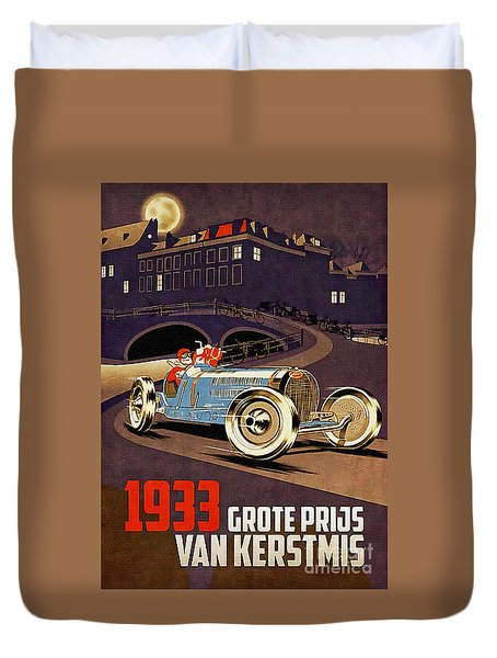 Car Racing Christmas Poster Of The 30s Duvet Cover
