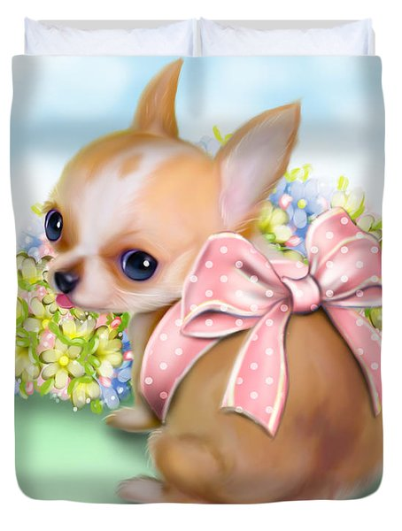 Duvet Cover featuring the painting Caramel Chihuahua Baby by Catia Lee