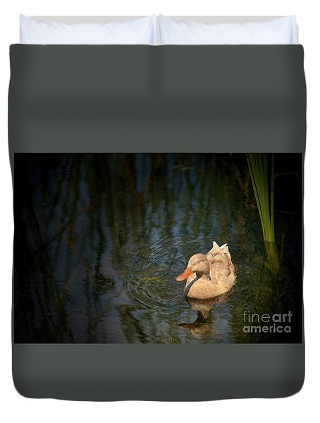 Duvet Cover featuring the photograph Caramel Mallard by Pamela Blizzard