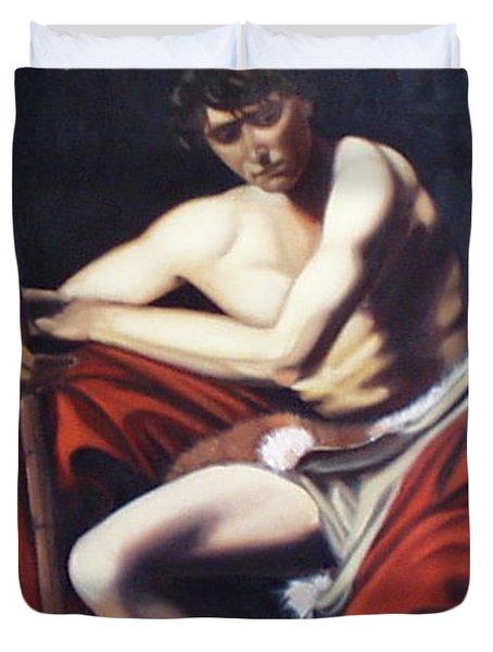 Caravaggio's John The Baptist Study Duvet Cover by Toni Berry