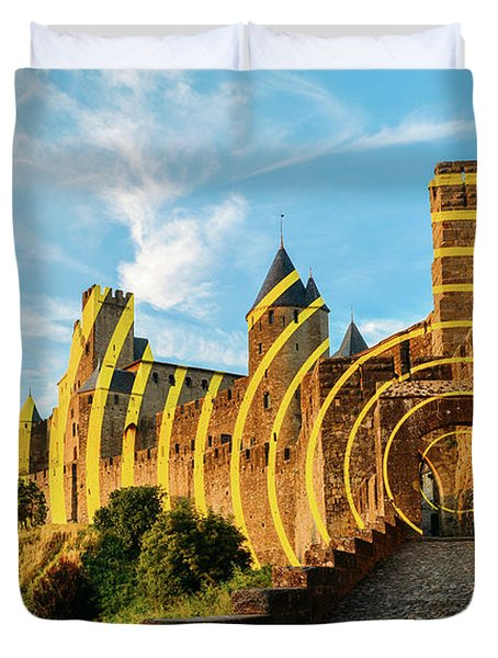 Carcassonne's Citadel, France Duvet Cover
