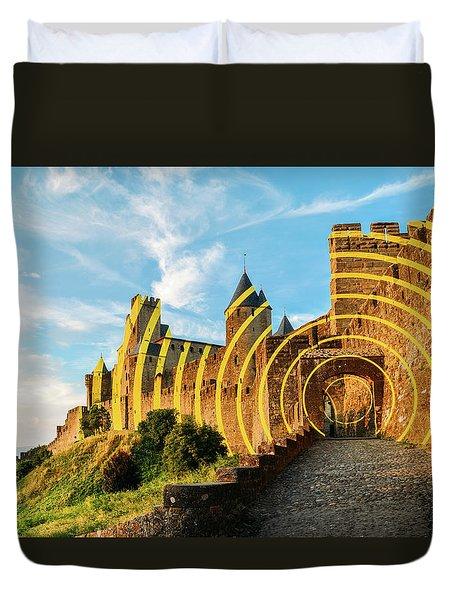 Carcassonne's Citadel, France Duvet Cover